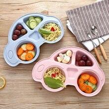 Enfant en bas âge bébé plats dessin animé voiture forme plaque écologique séparé enfant nourriture assiettes enfants vaisselle vaisselle plateau