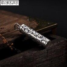 100% 999 argent Gau boîte pendentif Vintage pur argent tibétain boîte pendentif bonne chance symbole bouddhiste prière boîte pendentif