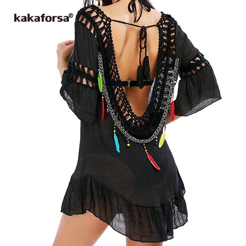 Kakaforsa 2019 mujeres Sexy espalda descubierta playa cubrir hasta Crochet túnica borla Bikini cubrir hasta verano negro nadar volantes playa vestido
