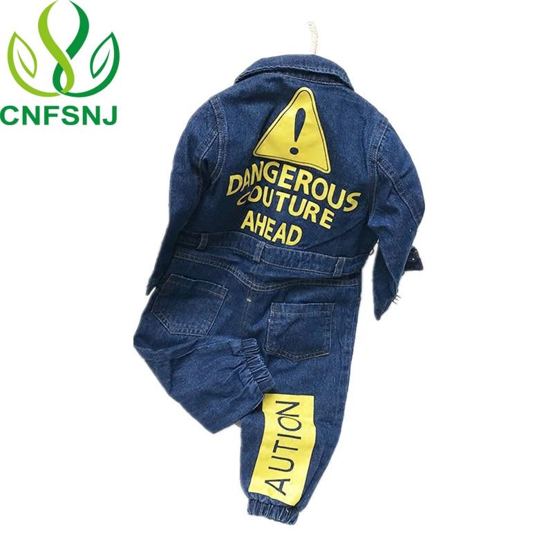 CNFSNJ new Baby Boy Girls Costume Cowboy Fashion Jeans Children Soft Denim Baby Romper Graffiti Infant Clothes Newborn Jumpsuit