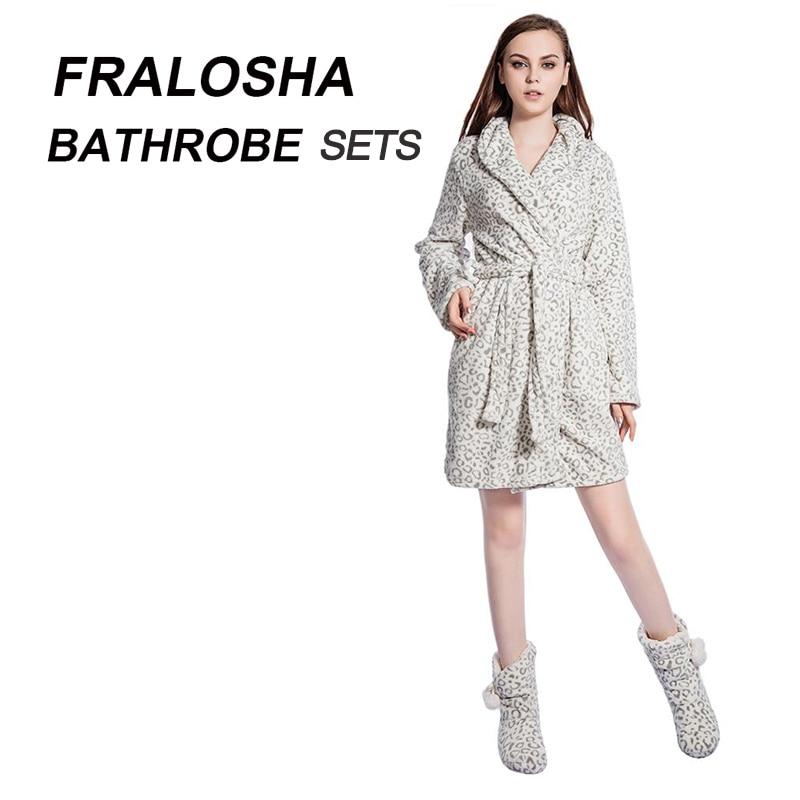 FRALOSHA женский леопардовый теплый фланелевый банный халат Свадебный ночная