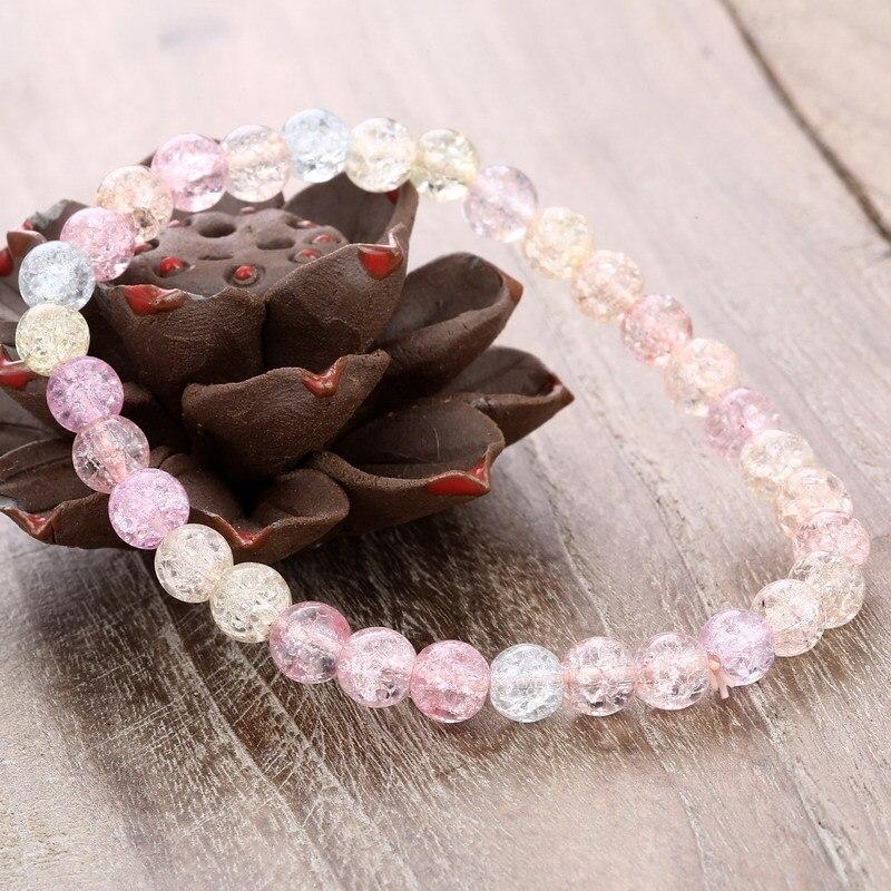 Nueva pulsera de cuentas de colores dulces para mujeres niñas hermosa 6mm 8mm 10mm cristal cuentas pulseras elásticas pulseras regalo joyería