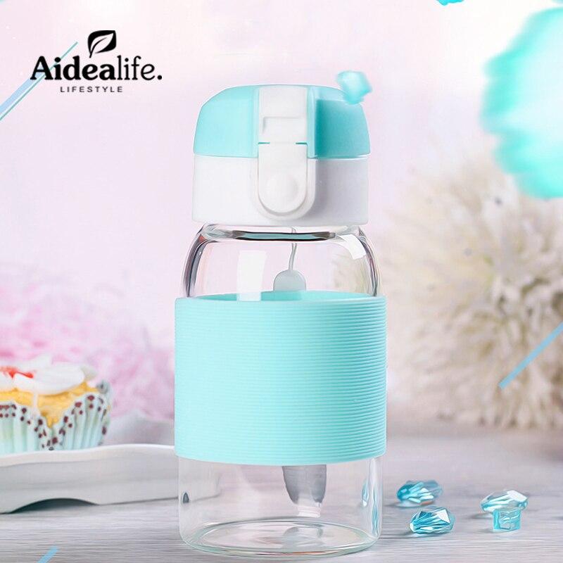 Lemon de botella de agua de vidrio 300ml niños de jugo de botella de agua de enfriador de motivar regalo, artículos en promoción