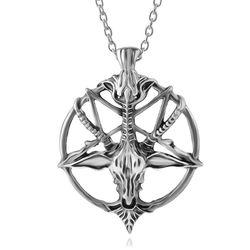 1 pc presente da páscoa punk pentagrama pan deus crânio cabeça de cabra pingente colar sorte satanismo oculto metal vintage prata estrela colar