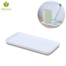 Accessoires de salle de bain en porcelaine   Brosse à dents créative Base en céramique plateaux blancs support rectangulaire rangement sanitaire accessoires de salle de bain