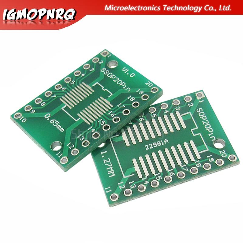 10 Uds SOP20 SSOP20 TSSOP20 a DIP20 paso 0,65/1,27mm adaptador de circuito integrado placa PCB