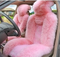 2x pure natural fur seat cover pink colour sheepskin winter car cushion front vehicle seat cover