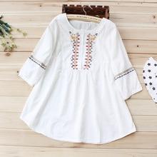 2019 japonais doux ethnique broderie trois quarts manches chemise femmes printemps Mori fille coton blanc chemises lâches Chic Blouse2021