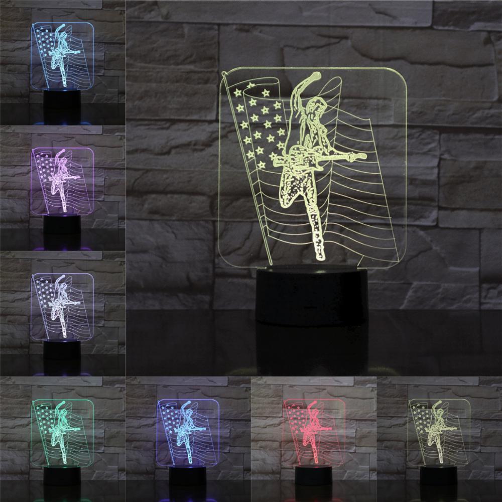 Luz de mesa de moda cantante estadounidense lámpara 3D cambio de Color luz de noche niños presente Rock Lamparas remoto lámpara de Lava táctil