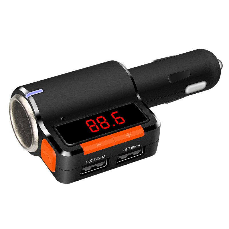 Adaptador de Radio de transmisor FM con Bluetooth de coche inalámbrico de marca con cargador USB Dual para Smartphone, pantalla LED manos libres estilo de coche