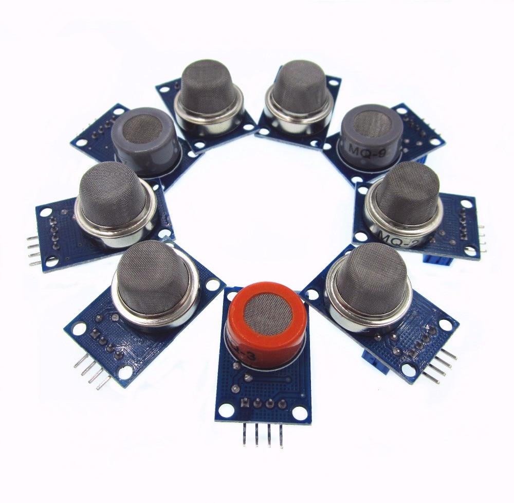 Módulo de detecção de gás MQ-2 MQ-3 MQ-4 MQ-5 MQ-6 MQ-7 MQ-8 MQ-9 MQ-135 cada um deles 1 pces total 9 pces sensor para kit