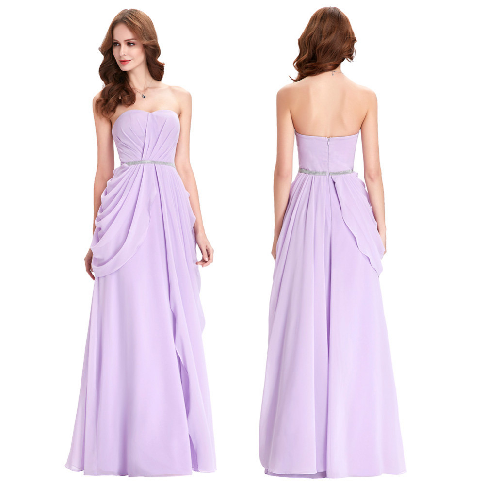 Purple Lavender Long Chiffon Floor Length Bridesmaid Dress 3