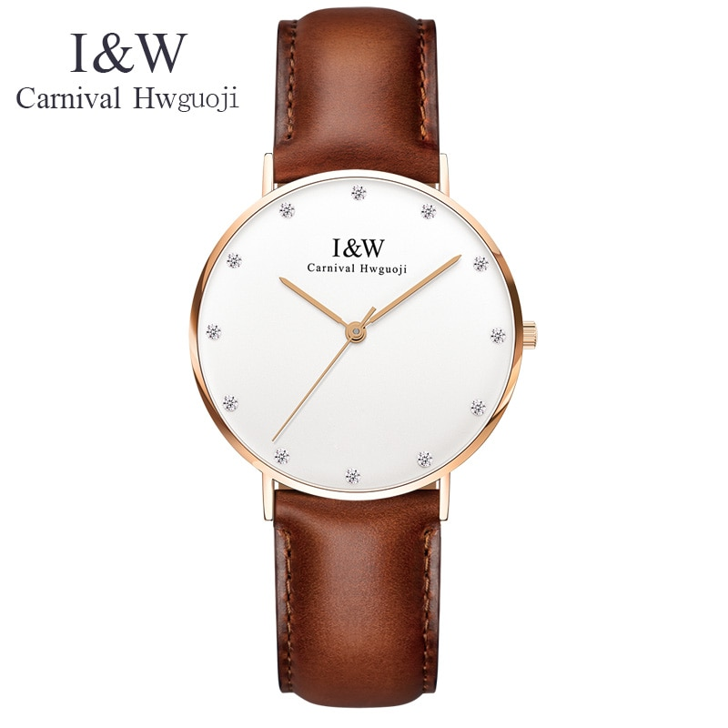 CARNIVAL IW UltraThin Women Watches Luxury Brand Lady Quartz Watch Women Fashion Casual Leather Strap Dress Wristwatch reloj