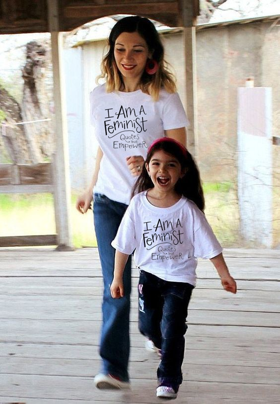 Citas feministas de Enpower White, camisetas A juego para mamá e hija, camisetas informales de verano, ropa de moda