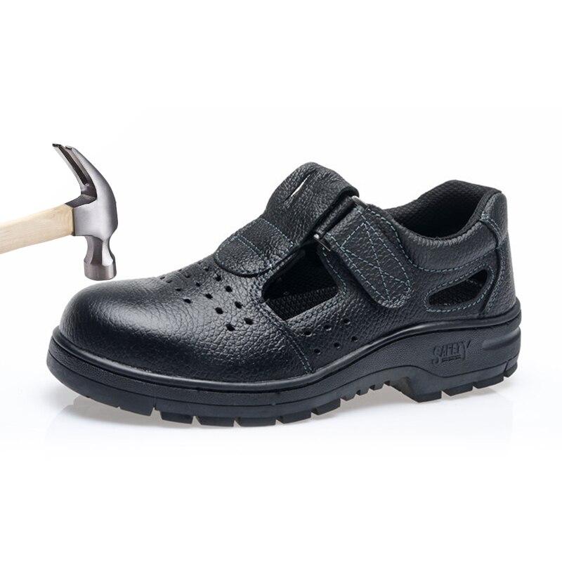 Sapatos de segurança botas de couro de trabalho homens sandálias verão respirável aço toe safty tênis anti-smashing designer evitar punctura