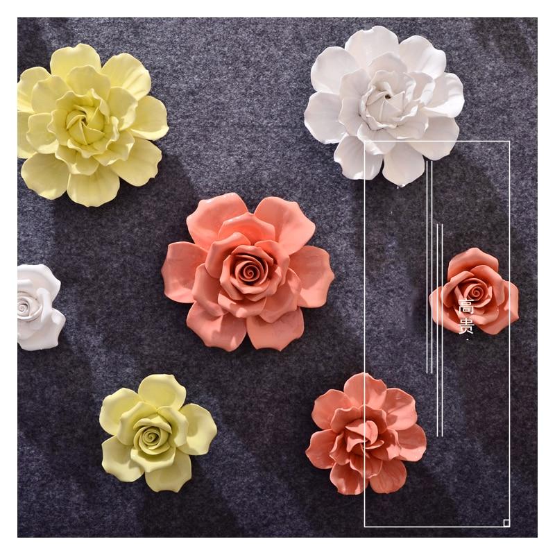 3D estereoscópico de cerámica flores pegatinas de pared para sala de estar dormitorio Mural de fondo de TV cerámica flor artesanías decoración del hogar