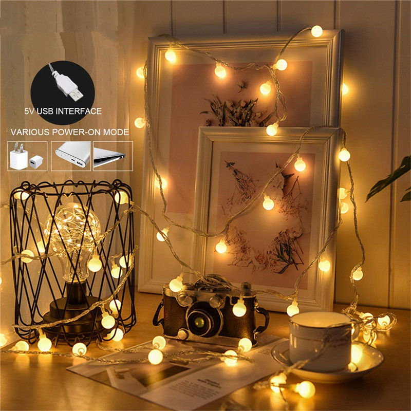 kzkrsr 3 5m 0 5m 3m 3m 6m 3m led curtain icicle string light led fairy lamp for christmas holiday wedding party garland decor Holiday Lamp string USB 3M 5M 10M Fairy Garland Ball LED String Light Fairy String Decorative Light For Christmas Wedding Party