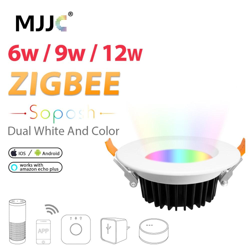LED النازل زيجبي زل الذكية RGBCCT 6 واط 9 واط 12 واط التيار المتناوب 110 فولت 220 فولت لمبة ليد قابلة للخفت زيجبي لينك النازل العمل مع الأمازون صدى