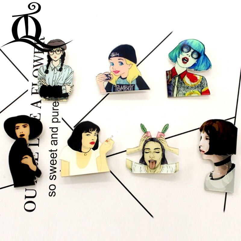 Envío gratis 1 Uds bad girl broche de dibujos animados iconos en la mochila insignias de acrílico dibujos animados Pin insignias para prendas de vestir insignia de decoración 35