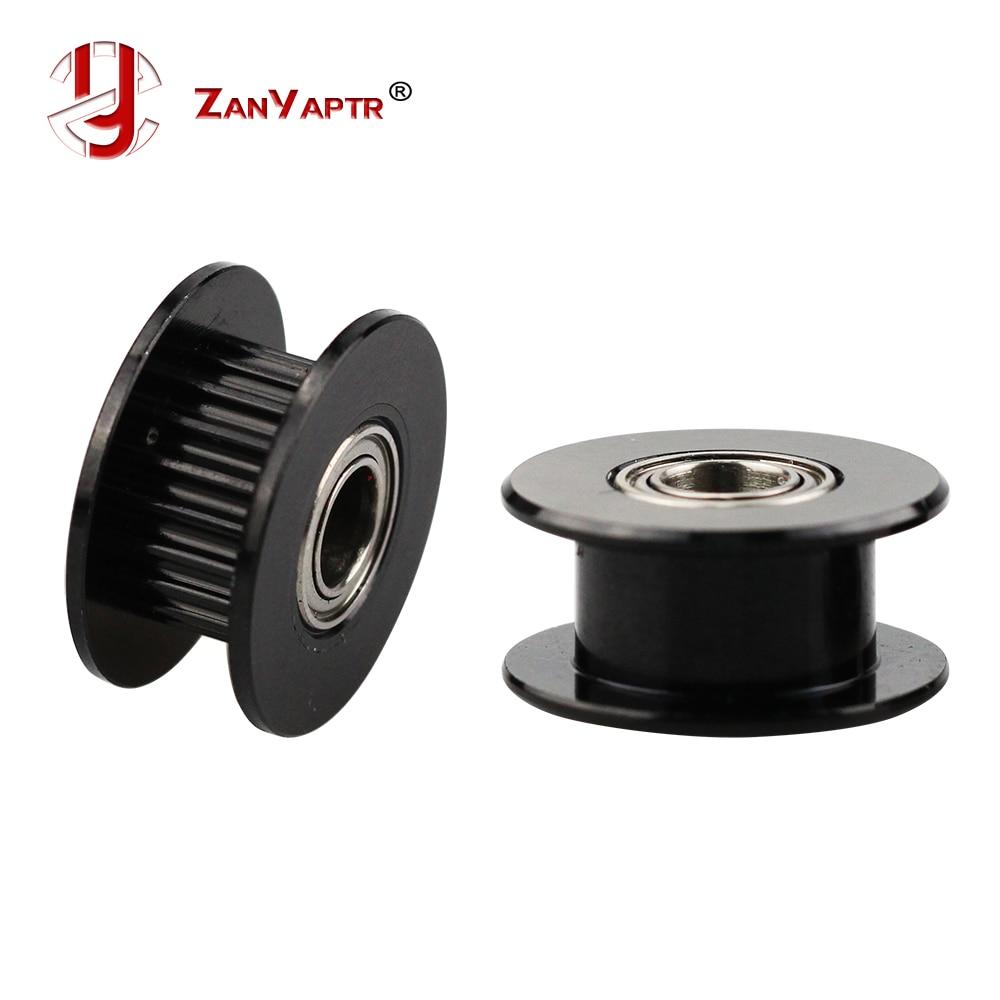 Rueda sincrónica 2GT 20 dientes roldana color negro ancho 6mm diámetro 3/4/5mm con rodamiento para correa de distribución GT2