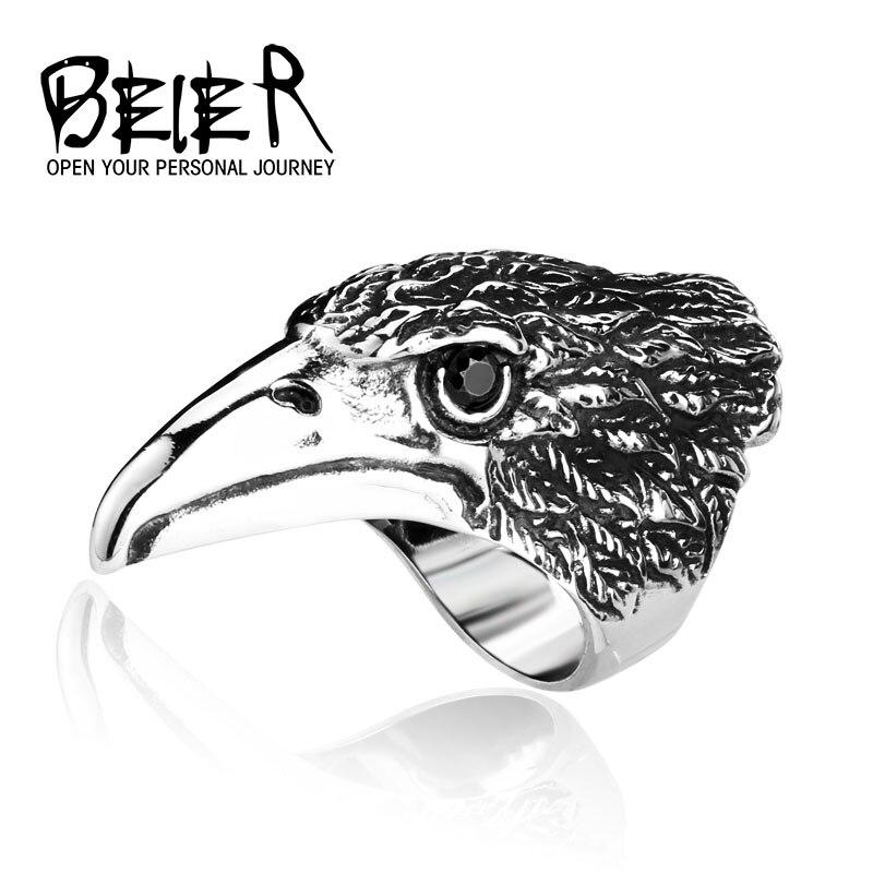 Большой байкер Мужская нержавеющей Сталь серебристый, черный Heavy Metal Eagle Head Кольцо животных ювелирных BR8-080 нам Размеры
