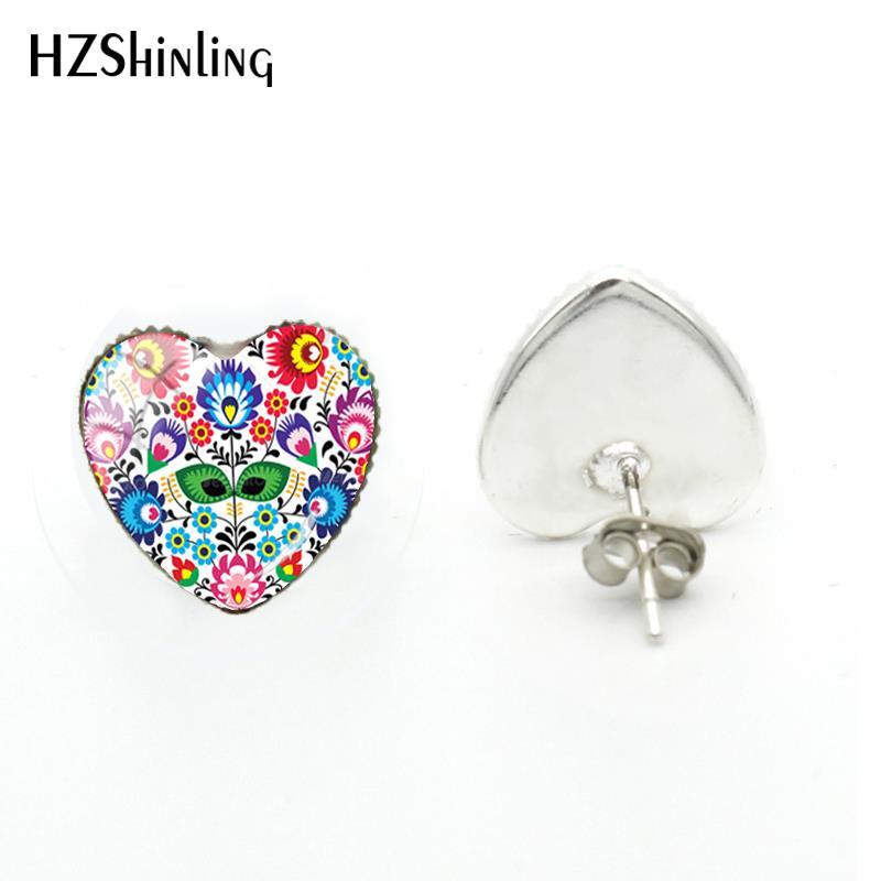 2018 Новый польский народный узор сердце сережка, стеклянный купол серьги с фотографией ручной работы ювелирные изделия искусство уха шпильки для женщин