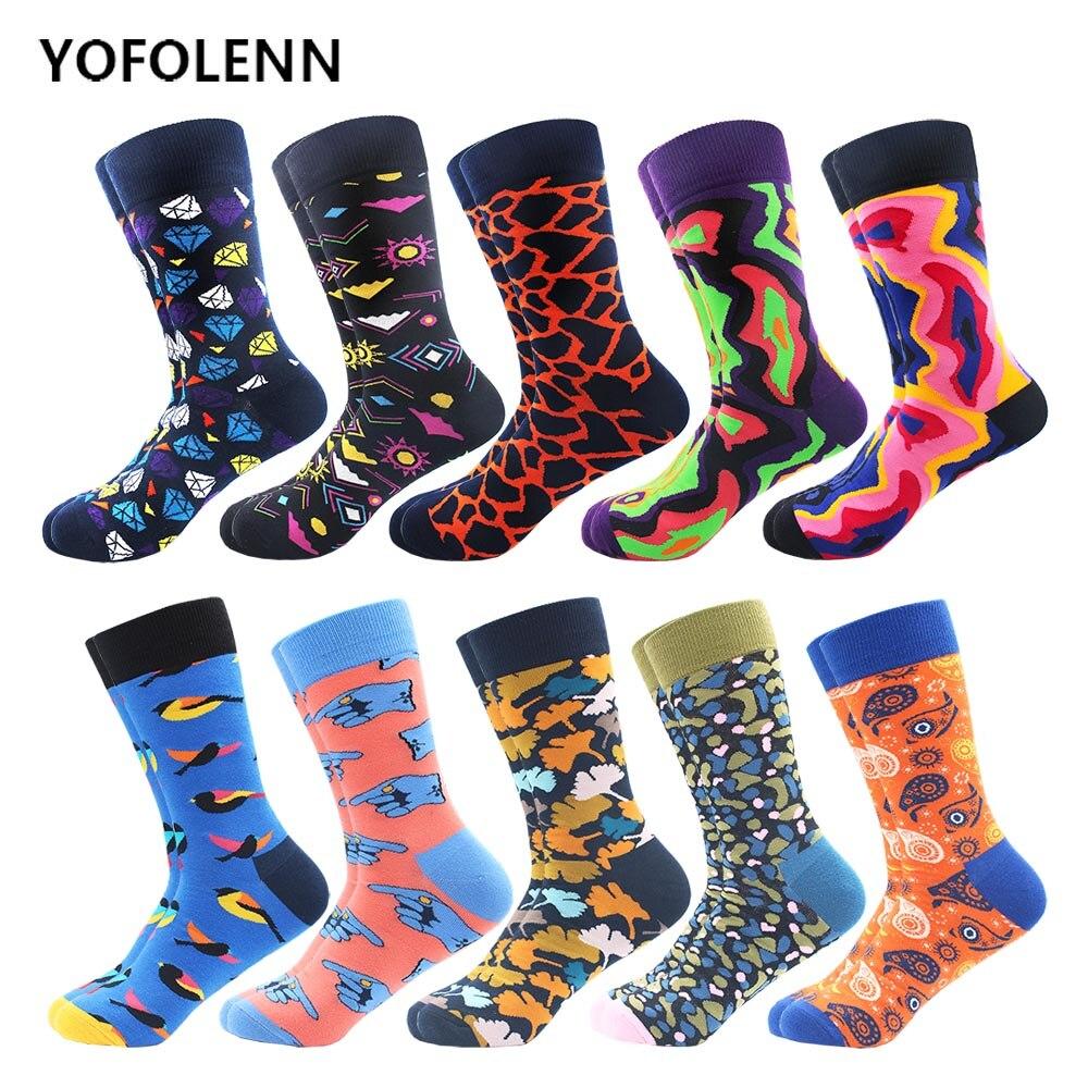10 par/lote coloridos hombres de algodón peinado vestido Casual equipo calcetines graciosos y novedosos ropa de calle boda fiesta divertidos calcetines para montar en monopatín