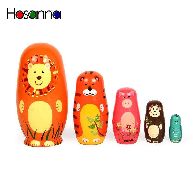 5 pçs russo empilhamento ninhando matryoshka bonecas conjunto de 5 coleções animais de madeira mão pintura bonecas decoração brinquedos para crianças presente