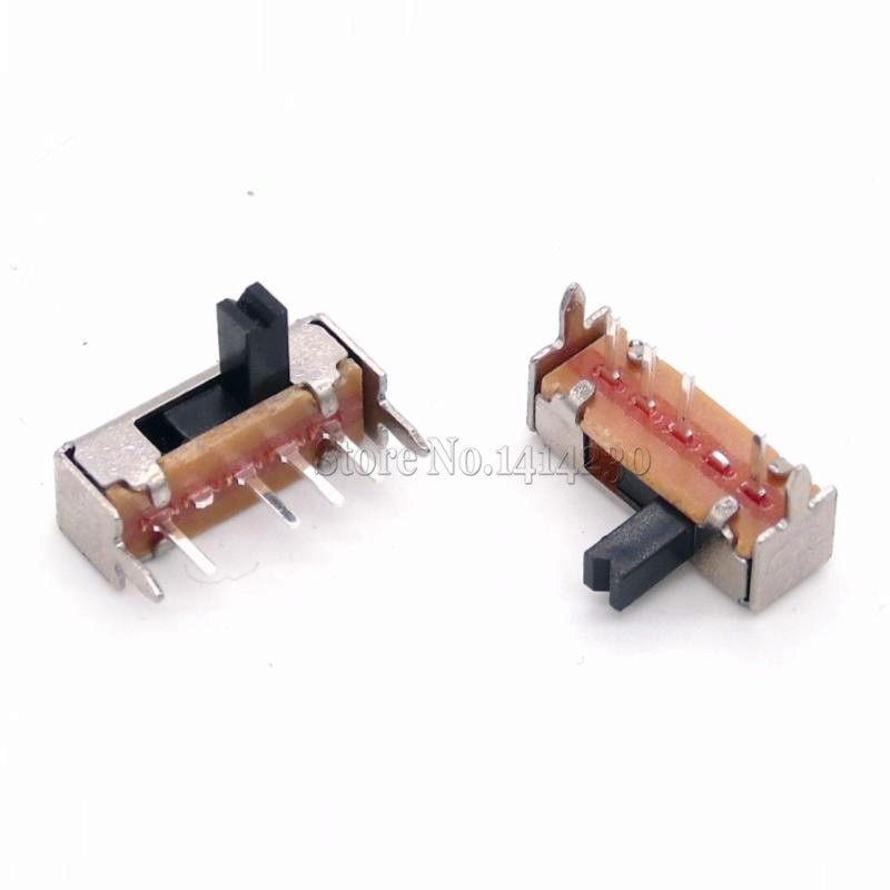 10 pces sk13d07vg4 dc 50 v 0.5a 4 pinos pwb 3 posição sp3t 1p3t mini interruptor deslizante ângulo direito 4mm lidar com alta