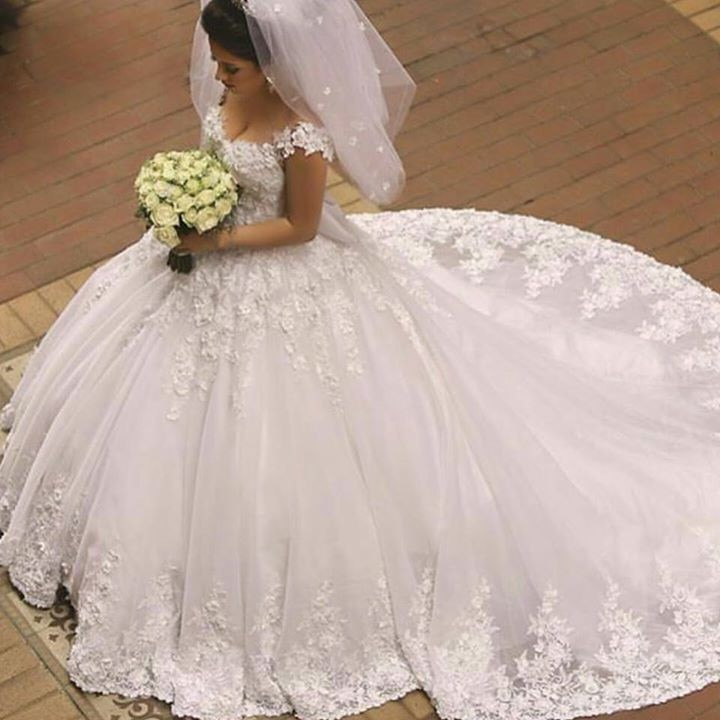Vestido De Festa Elegant Newest Arabic Wedding Dresses Ball Gown Appliques Cap Sleeve wedding gown Court Train Bridal