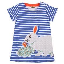 2017 wholesale fashion cute baby kids girls summer dress rabbit cartoon stipped dress clothes 2-7Y