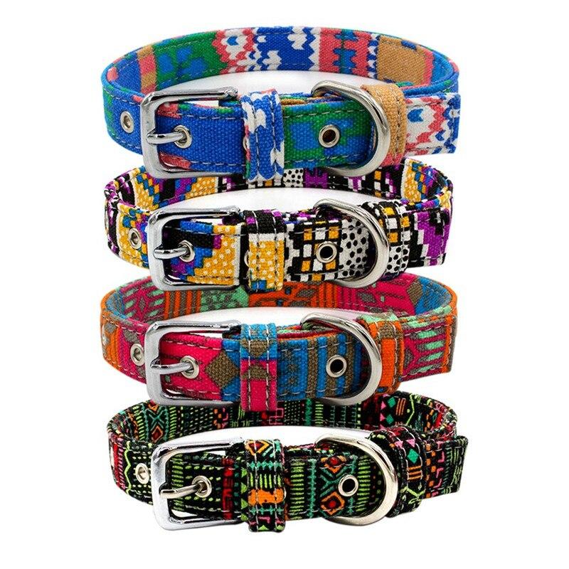 Collar para perro ajustable, Collar bohemio colorido de doble tela para mascotas, Collar para gatos y gatitos, collares para mascota mediana Grande y Pequeña