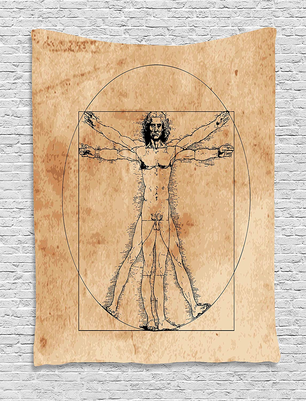 Tapiz de Anatomía Humana, tapiz Medieval de Vitruvio para hombre, pintura italiana famosa, pintura renacentista, colgante de pared artística, Sepia