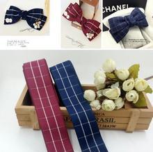 5 yards bricolage tête cheveux bijoux matériaux importés de corée du sud 38MM bleu ruban ruban treillis vin rouge ruban coton ceinture