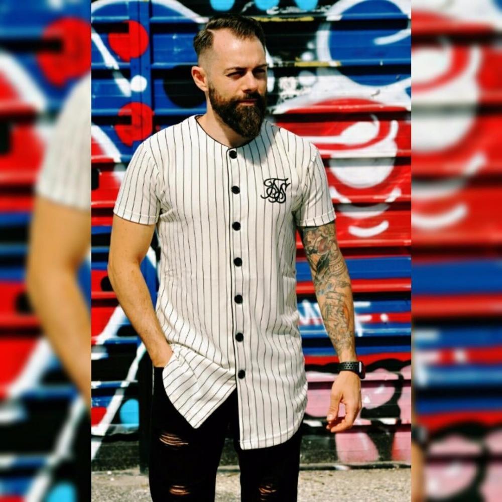 Moda verano 2019 hombres Streetwear Hip Hop camiseta Sik seda bordado béisbol camiseta a rayas Hombre Camisetas Camiseta homme