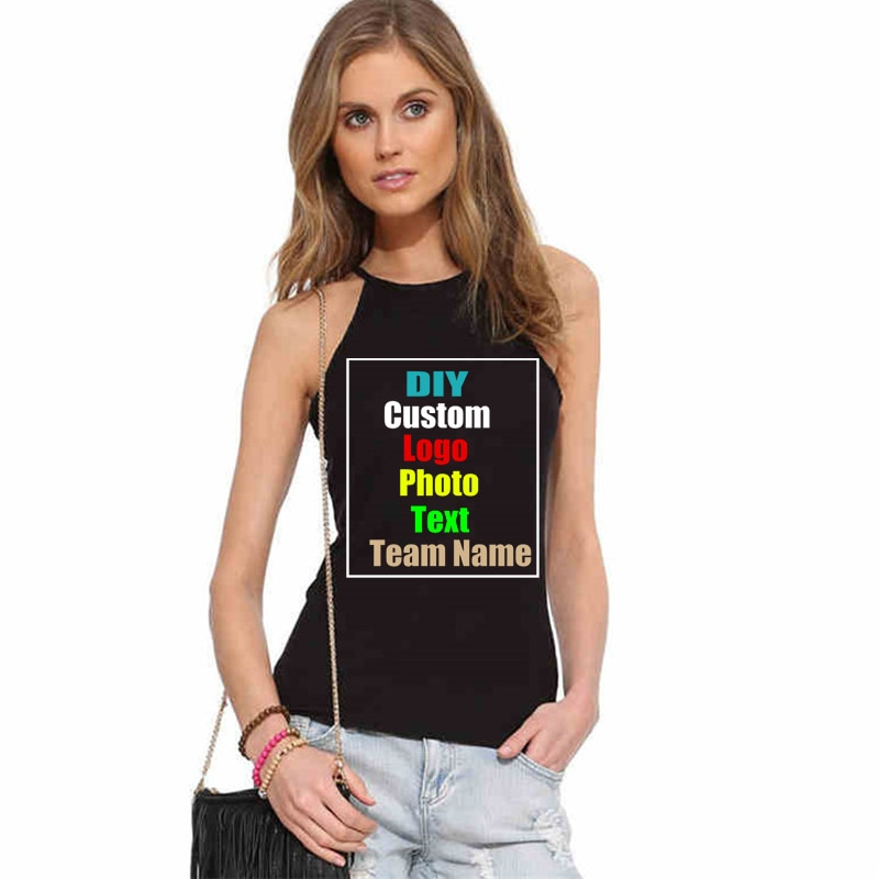 2018 sólido Delgado Sexy club nocturno de mujer Caims tanques Top fuera del hombro sin mangas femenino logotipo personalizado foto texto impreso camisetas