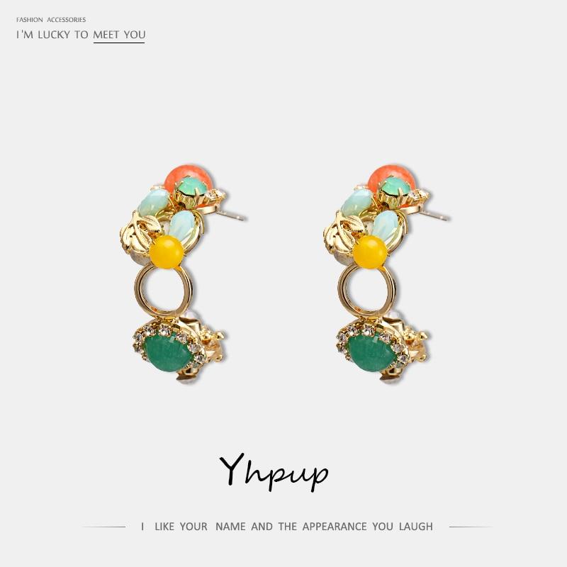 Yhpup 2019 requintado luxo strass cristal brincos do parafuso prisioneiro pedra geométrica brincos de declaração s925 feminino jóias de casamento presente
