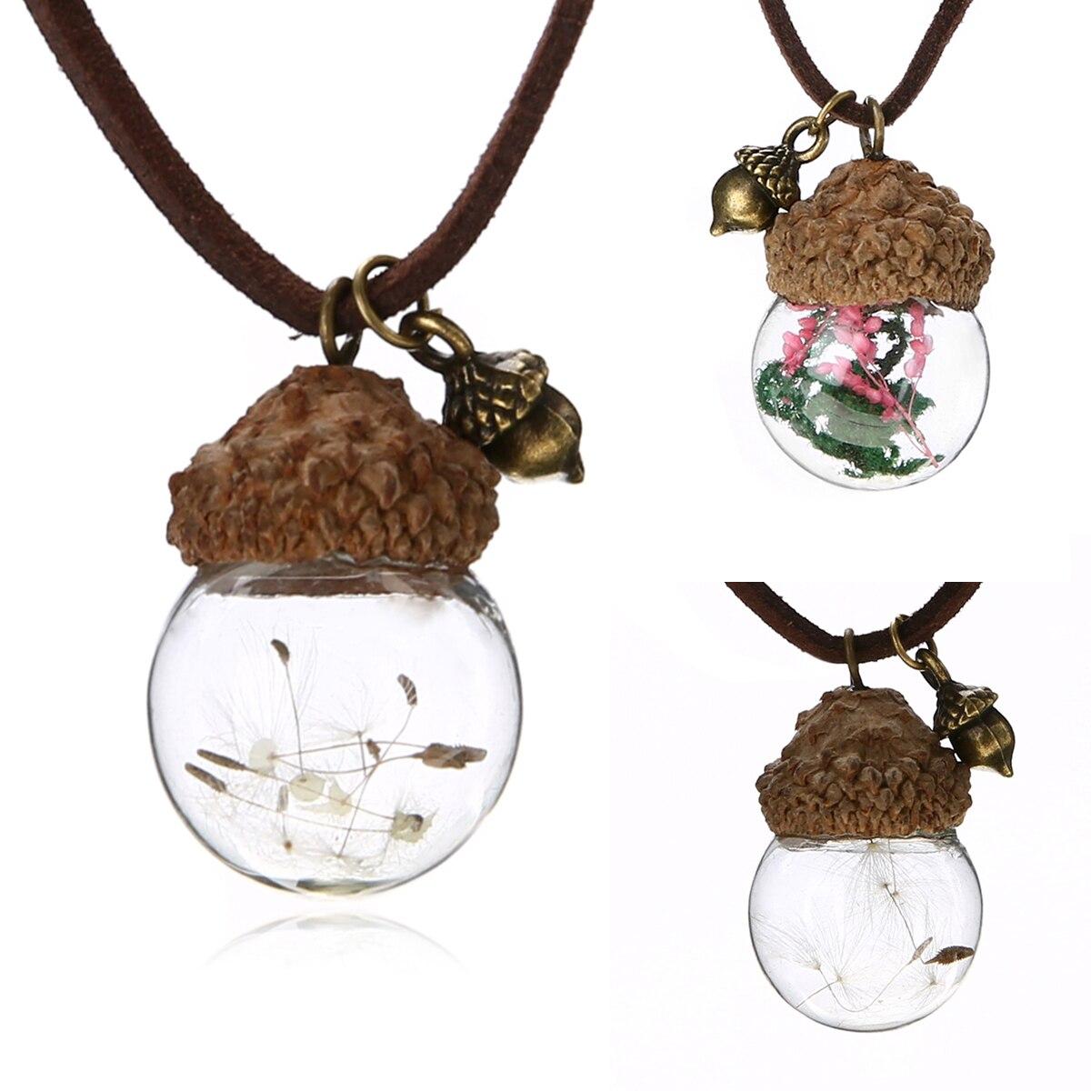 Collar de Bellota de bola de cristal de moda collar de goma laca duro diente de león flor colgante collar de joyería vintage Femme Bijoux