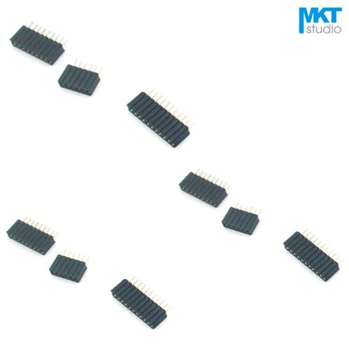 100 Uds 1,27mm paso de una sola fila recta pines 4,6mm hembra PTH Pin Header para Arduino 2P 3P 4P 5P