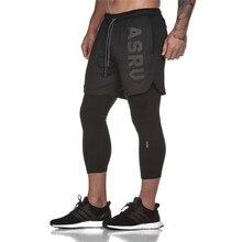 Новинка 2020, Мужские штаны длиной до середины икры с имитацией 2 в 1, спортивные штаны для фитнеса, обтягивающие эластичные штаны, быстросохнущие леггинсы, Мужские штаны
