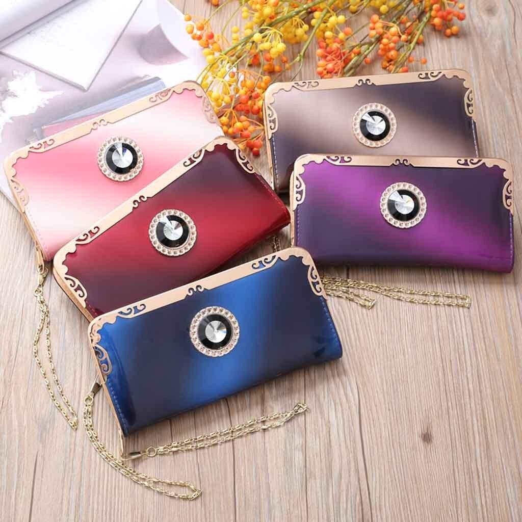 2019 moda mujer largo charol gradiente Color cartera arcoíris monedero bolso de mano porte feulle femme e0129