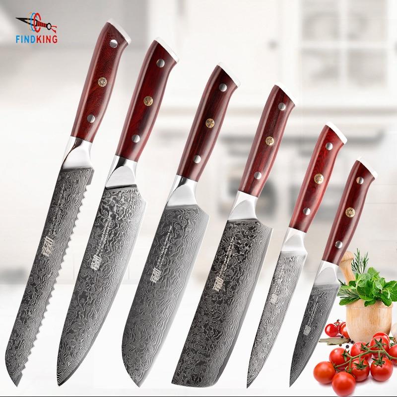 FINDKING 6 قطعة AUS-10 دمشق الصلب خشب الورد مقبض دمشق طقم السكاكين 67 طبقات الشيف فائدة سكينة فاكهة