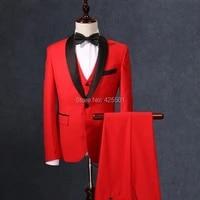 jacketvestpantsbow 2020 red 3 pieces slim fit suits for wedding groom men suit prom tuxedo formal groomsmen best man blazer