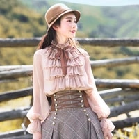 free shipping boshow 2021 new fashion pink and white shirts for women long lantern sleeve ruffles blouses tops s l spring autumn