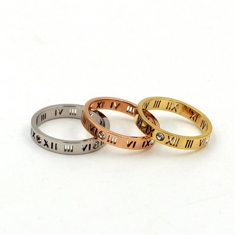 Joyería de acero de titanio para mujer anillos de números romanos para mujer anillos de cristales CZ pareja de anillos de amor de fiesta de moda R006