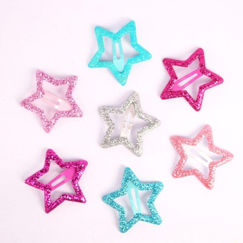 6 шт., модные заколки для волос в Корейском стиле, 3 см, Детские аксессуары для волос в форме звезды, блестящие однотонные металлические заколки для волос, подарок для девочек