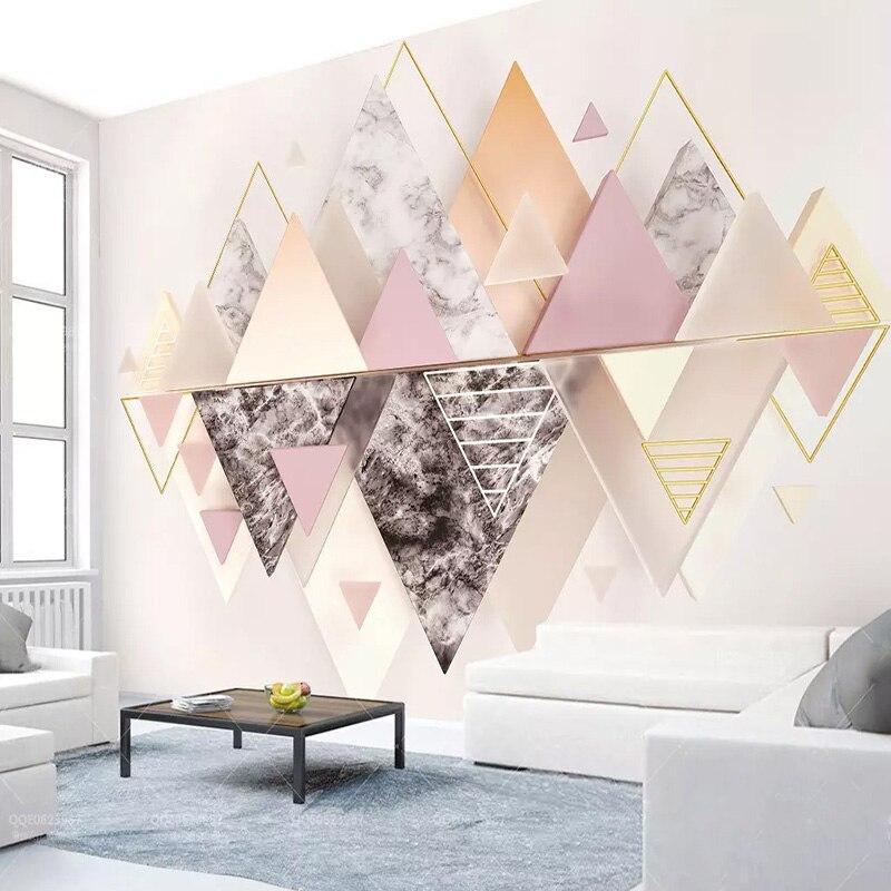 Настенная 3D Бумага, 3D геометрический треугольник, абстрактное искусство, настенная живопись, гостиная, постельные принадлежности, 3D фон