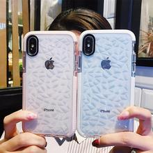 Funda de teléfono transparente de lujo con textura de diamante para iPhone 7 8 6 6s Plus 11 Pro X XR XS Max a prueba de golpes, funda blanda de silicona TPU