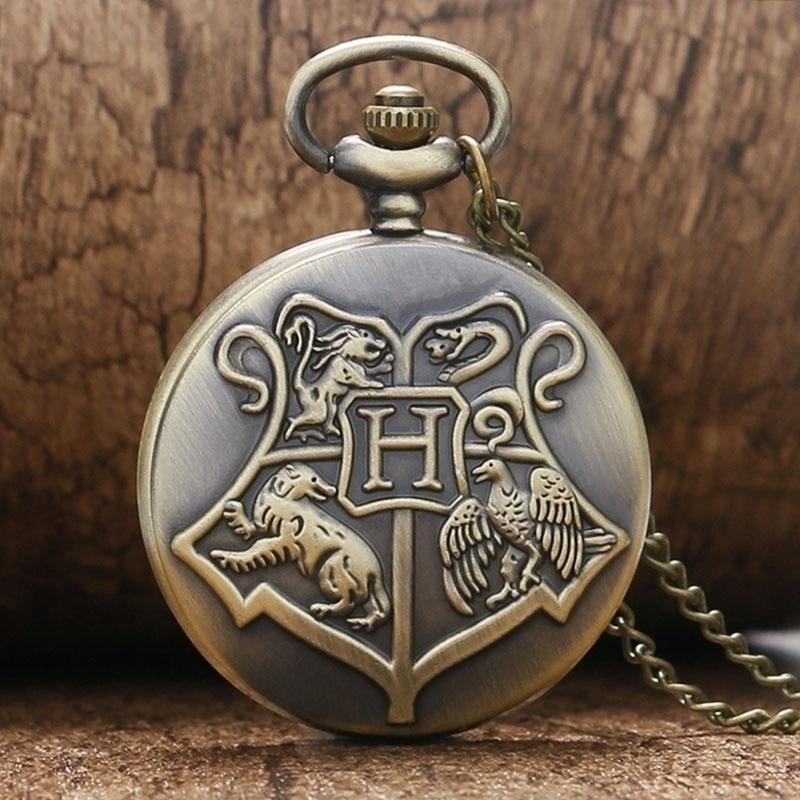 Bronze Cobre Estilo Antigo Da Escola de Magia e Bruxaria de Hogwarts Crachá Quartzo Relógio de Bolso Colar para As Mulheres Homens Crianças