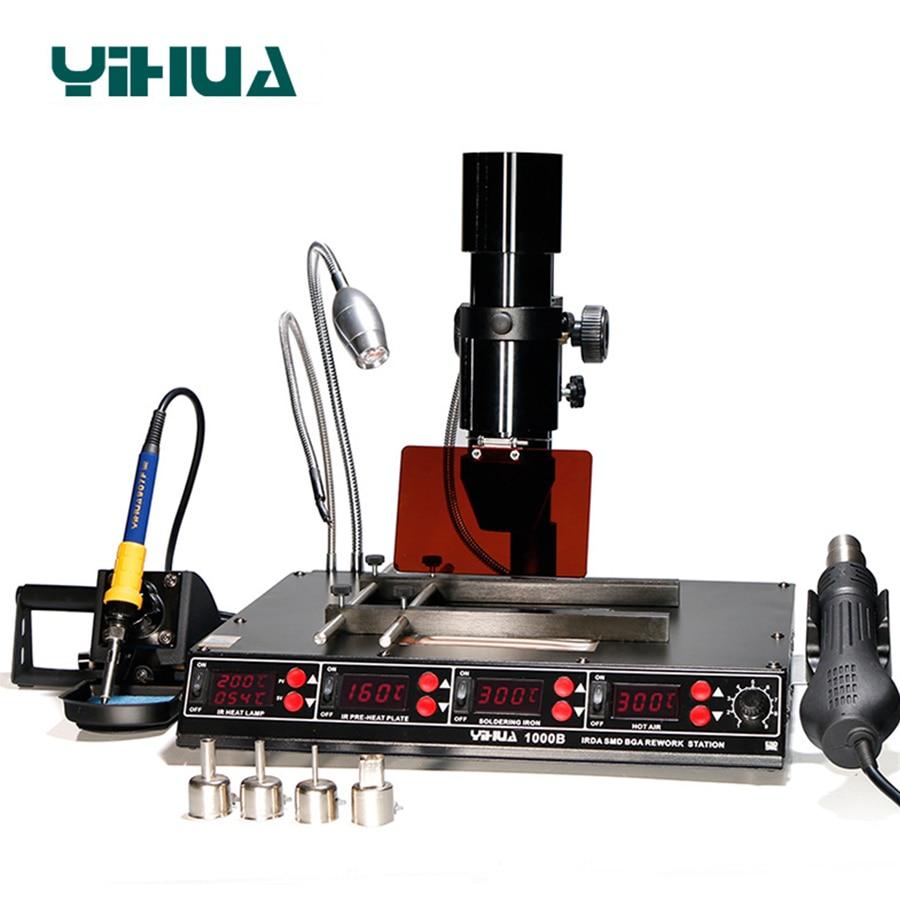 YIHUA 1000B 3 وظائف في 1 الأشعة تحت الحمراء بغا محطة إعادة العمل SMD مسدس هواء ساخن + 75 واط لحام مكاوي + 540 واط محطة التسخين 110 فولت/220 فولت